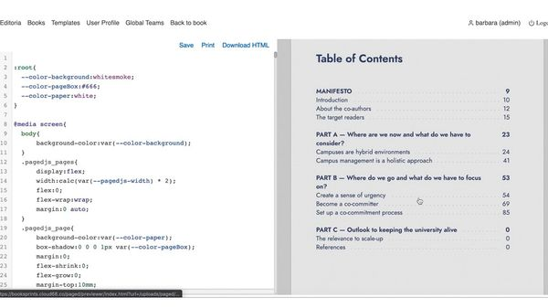 The table of contents and the html view in Editoria