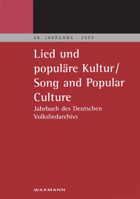 Lied und populäre Kultur – Song and Popular Culture 48 (2003)