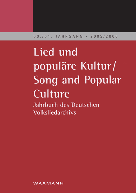 Lied und populäre Kultur - Song and Popular Culture 50/51 (2005/2006)