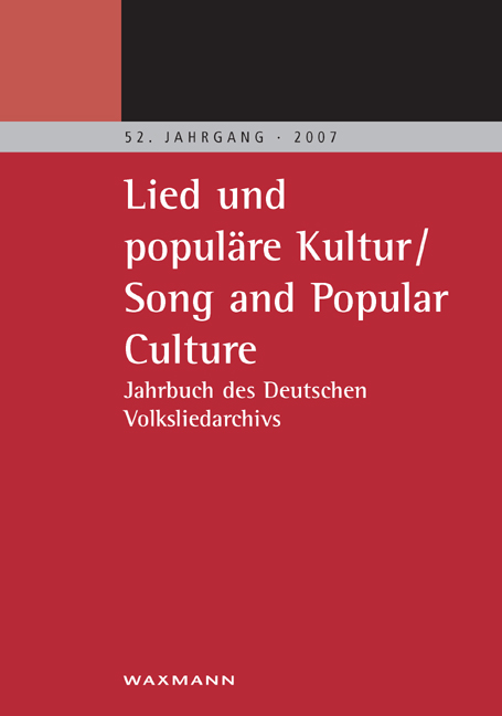 Lied und populäre Kultur – Song and Popular Culture 52 (2007)