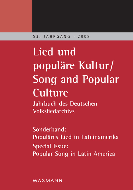 Lied und populäre Kultur – Song and Popular Culture 53 (2008)