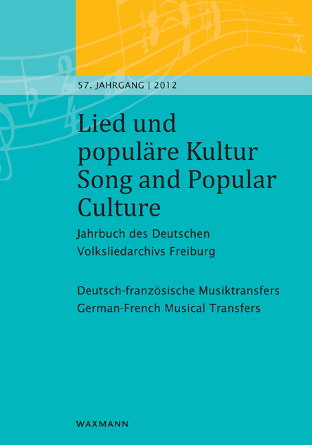 Lied und populäre Kultur – Song and Popular Culture 57 (2012)