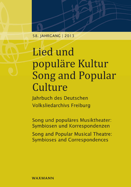 Lied und populäre Kultur – Song and Popular Culture 58 (2013)