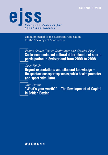 Socio-economic and cultural determinants of sports participation in Switzerland from 2000 to 2008